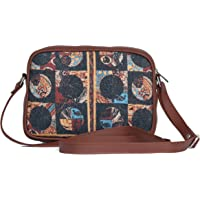 ZOUK Sling Bag for women - Handmade Bags for Females - Vegan Leather and Indian Fabric Slings - Side Bags for Mobile…
