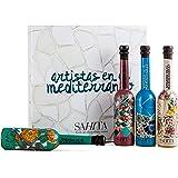 Estuche Gourmet de Aceite de Oliva Virgen Extra - 4 Botellas de 100 ml - Colección Artistas en el Mediterráneo - Diseño Premi