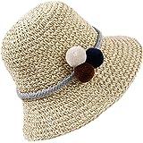Sombrero de Paja Niña Gorra de Sol Transpirable al Aire Libre de Viaje Sunscreen Cap Playa de Verano para Chicas, Beige/Caqui