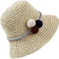 HONGXIN-SHOP Cappello di Paglia Bambini Cappelli Parasole di Paglia Pieghevole Cappello da Ragazza Sole Spiaggia Vacanza…