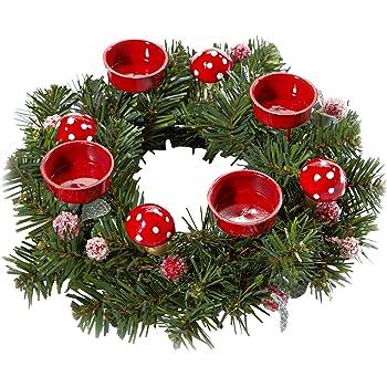 adventskranz weihnachtsglanz 30 cm im durchmesser mit roten kerzen garten. Black Bedroom Furniture Sets. Home Design Ideas