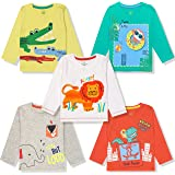 YUV Baby Boys & Girls Printed Fullsleeve T-Shirt (Pack of 5) with Shoulder Poppers for 0 to 36 Months
