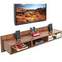 BLUEWUD Reynold Engineered Wood TV Entertainment Unit/Wall Set Top Box Stand Shelf Walnut (Large)