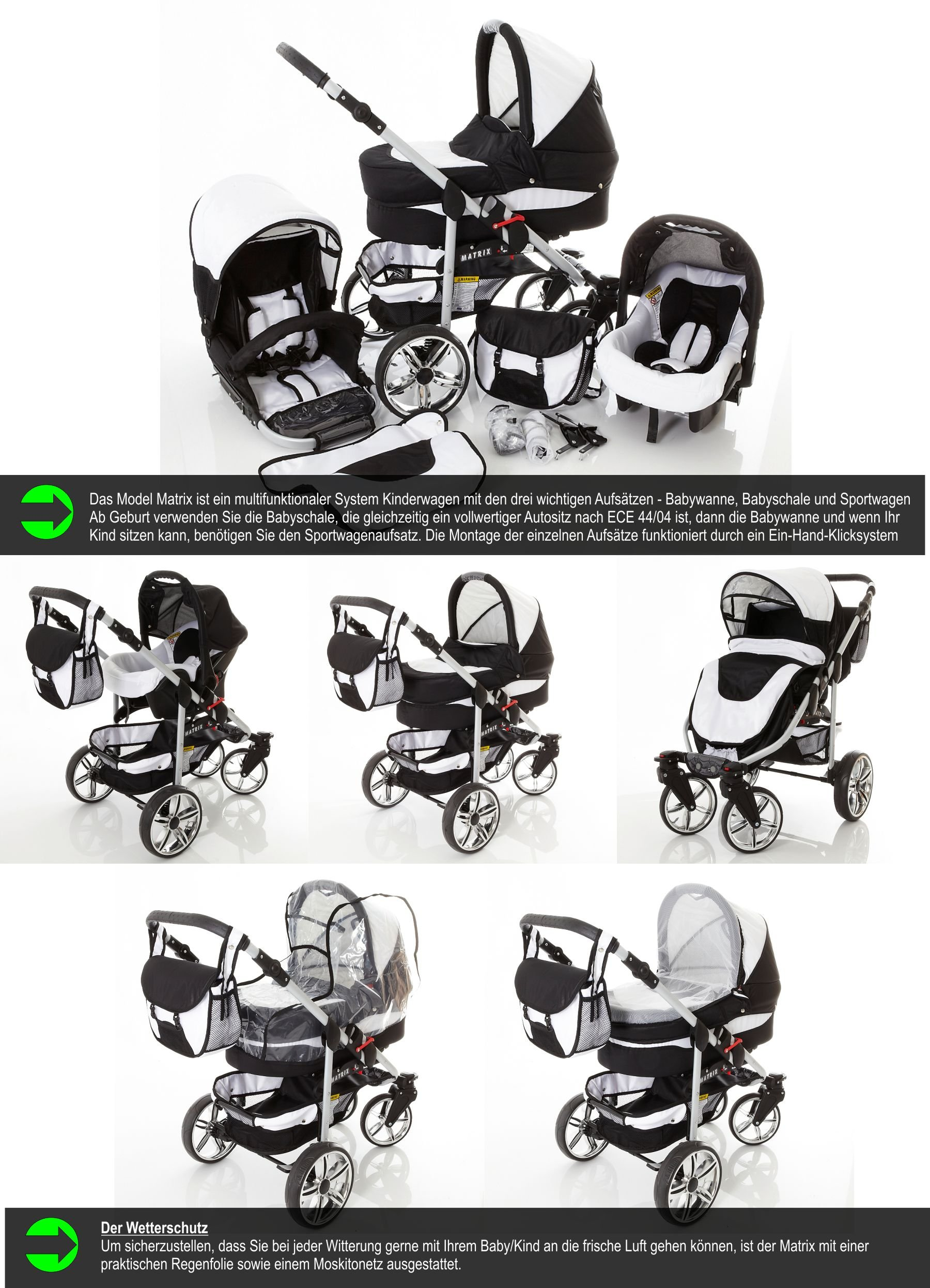 Chilly Kids Matrix II Pram & Pushchair Travel System (car seat & adapter, raincover, mosquito net, swivel wheels) 59 White & Leopard  Stroller with accessories all included 3 free items More information on www.youtube.com/Lux4Kids Sturdy steel construction, height-adjustable handlebars, adjustable hood hood, converts into a stroller and many pl Made in the EU (DIN EN1888/2005) 2