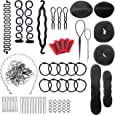 Accessori per Capelli Kit 28 Pezzi Acconciatura Set Hair Styling Tool Clip per Capelli Rilievi Pins Pastiglie Schiuma Sponge Ciambella Segnalini Cravatte Pennarello per Anello Harrspange
