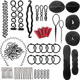 Accessori per Capelli Kit 28 Pezzi Acconciatura Set Hair Styling Tool Clip per Capelli Rilievi Pins Pastiglie Schiuma Sponge