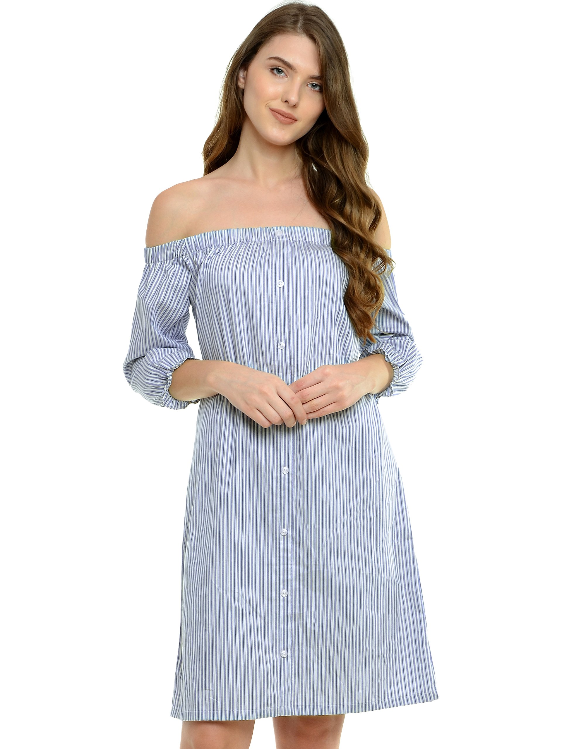 Miss Chase Womens Blue and White Off Shoulder Dress