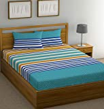 Huesland by Ahmedabad Cotton 144 TC Cotton King Bedsheet with 2 Pillow Covers - Blue and Yellow (9ft x 9ft)