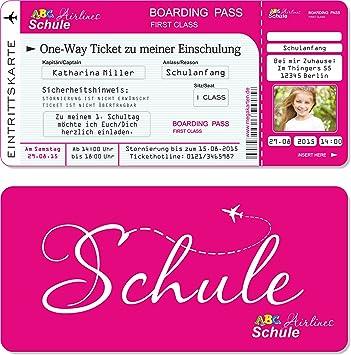 Einladungskarten Einschulung Als Flugticket Mit Abriss Coupon, Pink 10 Stück