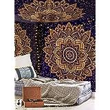 Aakriti Gallery Tapisserie Murale en Coton Mandala - Couvre-lit Bohème, Couverture Boho/Tapisseries pour Salon, décoration de