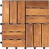 Vanage Holzfliesen 27-er Kachel Set, geeignet als Terrassenfliesen und Balkonfliesen, aus Akazien Holz, Design: Edge, braun, 30 x 30 x 2,4 cm