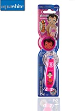 aquawhite Kid's Waterproof and Inbuilt Battery Chhota BheemTimer Flash Light Toothbrush with Hygiene Cap for Health and Personal Care (Pink)