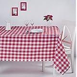 ElfRoutes Mantel Cuadros Vichy - Mantel Cocina - Mantel de Tela - Mantel %100 Algodon (Rojo, 155 X 220 cm)