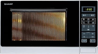 Sharp R-342(IN)W Mikrowelle / 25 L Garraumvolumen / 900 W / Easy-Touch-Display / One Touch Automatik Sensor / 8 Gar- und Auftau-Automatik-Programme / Kurzzeitmesser / Gewicht- und zeitgesteuertes Auftauen