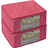 Homestraptm Cotton Quilted Large Saree Cover Bag / Wardrobe Organiser - Pink - Pack Of 2