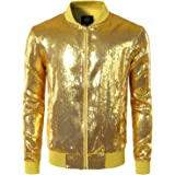 JOGAL Mens Shiny Sequins Nightclub Styles Zip Up Varsity Baseball Bomber Jacket Costume