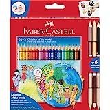 """Faber-Castel, matite colorate """"Children of the world"""", 3 matite con 2 tonalità di pelle, 1 confezione Astuccio da 20 pezzi."""