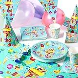 Matana 222 Pièces Ensemble Vaisselle & Décoration de Fête Anniversaire pour Garçons & Filles - 40 Invités