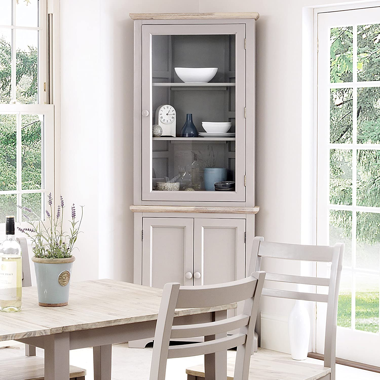 Elegant Florence Corner Display Cabinet, Truffle Glass Corner Dresser, 2 Door  Cupboard With Shelves. ASSEMBLED: Amazon.co.uk: Kitchen U0026 Home