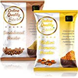 Online Quality Store Kasturi Turmeric Powder for Face + Pure Organic Sandalwood Powder For Skin Whitening(Pack of 2, 100g eac