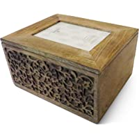 Purity Style Large Wooden Memory Keepsake Box with built-in photoframe