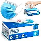 AIESI® Mascherine chirurgiche certificate in TNT a 3 strati colore azzurro con elastici tipo IIR (Confezione da 50 pezzi) # D
