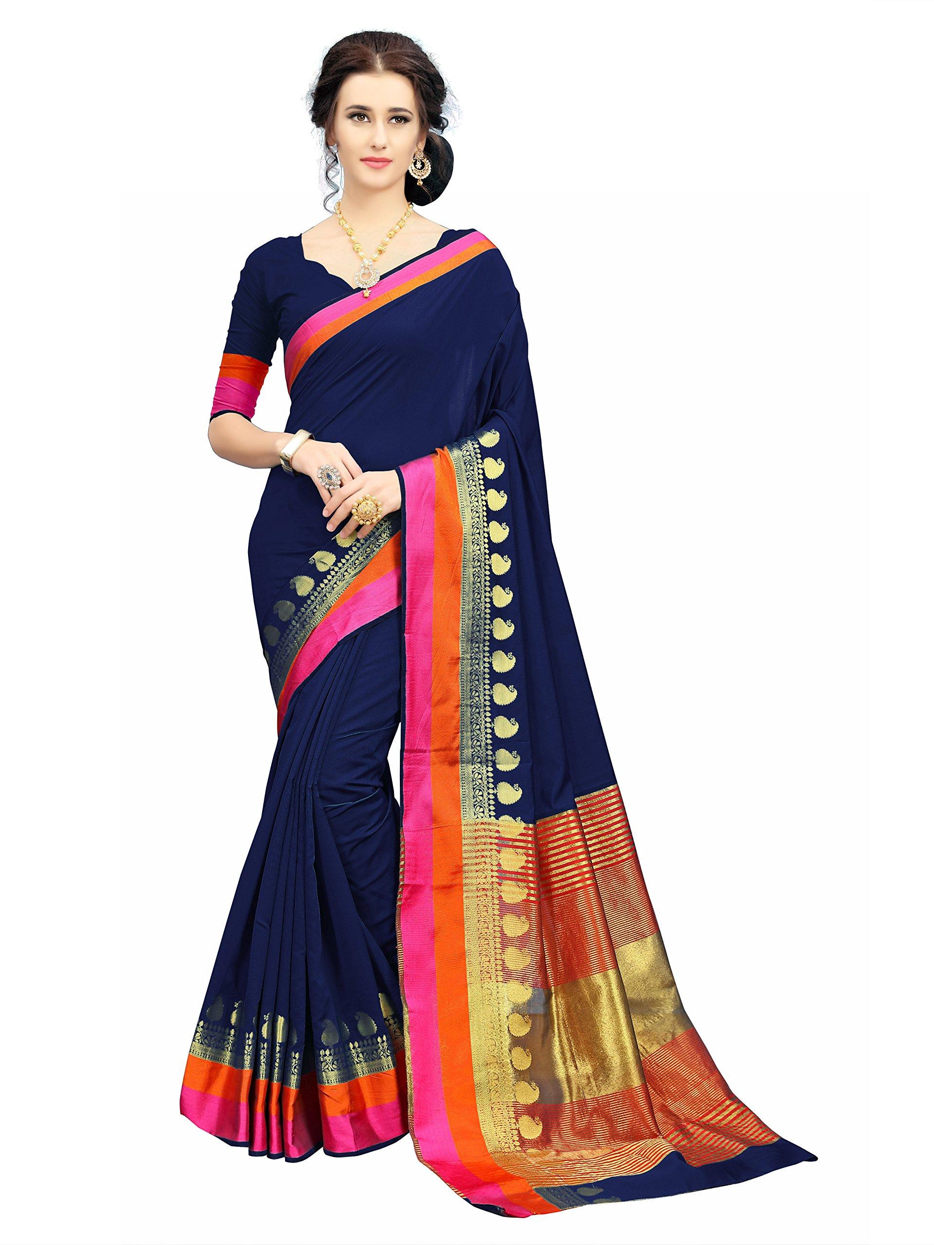 c62c34f469 Soru Fashion Striped Kanjivaram Art Silk, Banarasi Silk, Jacquard Saree  (611_Dark Blue) - Gia Designer