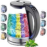 Glazen waterkoker, 1,8 liter, 2200 watt, roestvrij staal met temperatuurkeuze, theekoker, 100% BPA-vrij, warmhoudfunctie, led