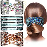 Sanas 3Pc Glass Bead Double Insert Clips Magic Comb Elastic Comb Hairmagic Chic Stretch Hair Head Comb Cuff Butterfly Comb fo