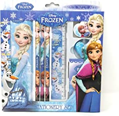 HM Disney Licensed Disney Frozen Stationery Set with Metal Pencil Box - 8 Pieces