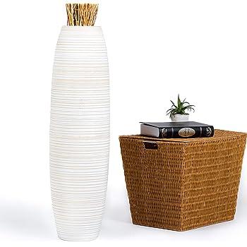 Leewadee Grand Vase Décoratif, 25x90 cm, Bois, White Wash
