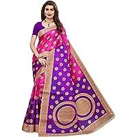 Yashika women's art silk kalamkari and bhagalpuri style saree with blouse piece and soft feel (kora)