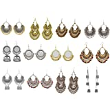 FashMade Multicolour Brass Chandbali Kashmiri Meena Ethnic Casual Earrings for Women -Combo Set of 12