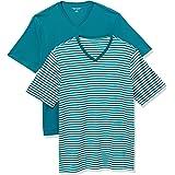 Amazon Essentials - Camiseta de manga corta de cuello de pico y corte holgado para hombre, paquete de 2 unidades