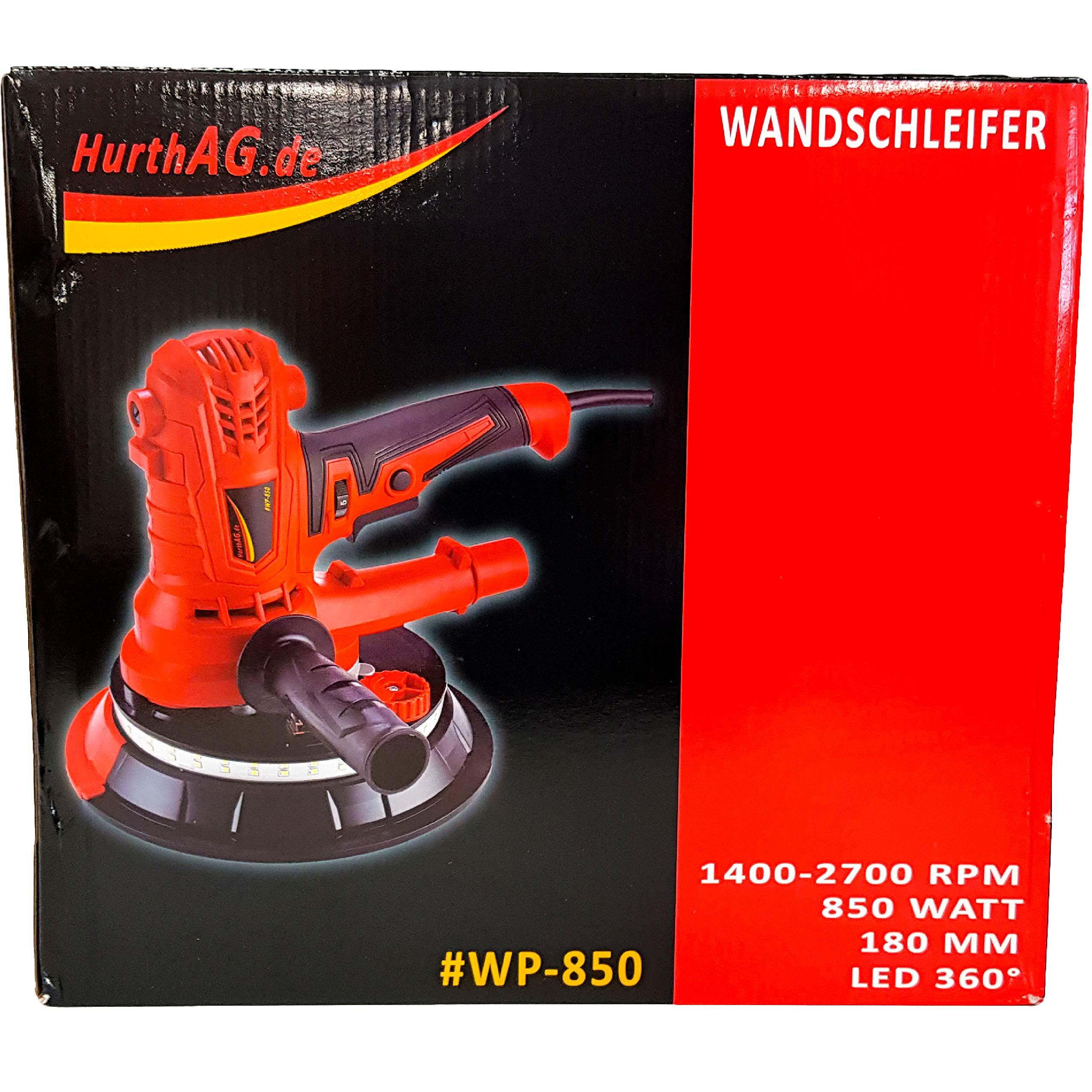 Deckenschleifer Trockenbauschleifer Absaugschlauch Soft-Griff Wandschleifer Durchmesser 180mm inkl 850W LED SMD 360/° Fangsack