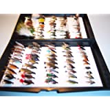 100 ASSORTED HAND MADE SINGLE HOOK TROUT FISHING FLIES IN DERWNT FLY BOX THE IDEAL GIFT FROM FLYMAKERS