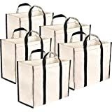 Storite 5 Pack Reusable Canvas Grocery Shopping Bags with Reinforced Handles (38x32x17 cm, White)