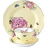 Royal Albert Joy 3-Piece Tea Set, Yellow with a multicolor print
