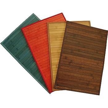 6er Set Bambus Platz-Matten Tisch-Sets Platzsets 44cm x 28,5cm Blau Gelb 145098