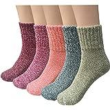 YSense 5paires Chaussettes d'Hiver pour Femmes en Laine Coton Tricotée Epaisses Chaudes