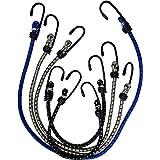Doratex Set van 5 elastische spanrubbers spanbanden met haken, spanner rubber in 3 lengtes, extra rekbaar
