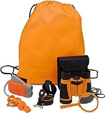 Exploration Kit for Kids - Outdoor Gear Gift Set for STEM Learning & Nature Exploring for Children - Compass, Binoculars,Magnifying Glass, Flashlight Backpack Pack for Toddler Boys & Girls