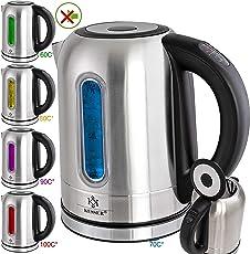 KESSER 2200W Edelstahl Wasserkocher 1,7L mit LED Beleuchtung-Farbe je nach Temperaturwahl 60, 70, 80, 90, 100 °C   Kalk-Filter   2 Std Warmhaltefunktion