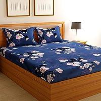 Florida Cotton 130 GSM King Bedsheet with 2 Pillow Covers बेडशीट डबल बेड कॉटन किंग साइज (Blue, 228x275 cm)