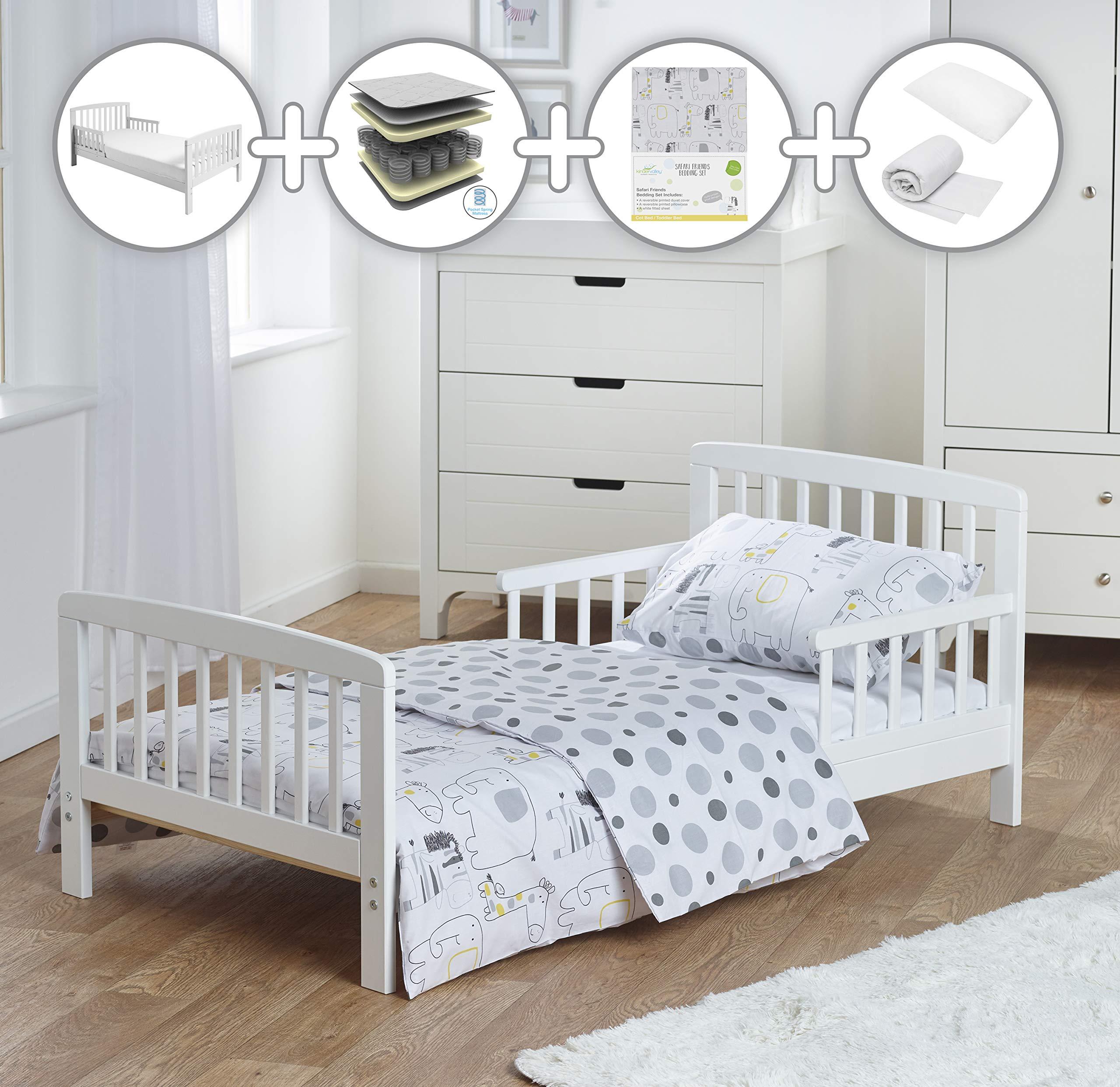 brand new 191f9 decfb Kinder Valley Premium Pocket Spring Toddler Bed Bundle 7 Piece Safari  Friends