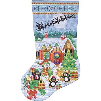 Fabric Dimensions STOCKIN SLED SMEN Multicolor Sledding Snowmen Stocking