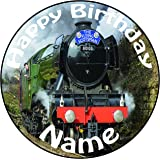 """Personalised Flying Scotsman Train Cake Topper - A Pre-cut Round 8"""" (20cm) Icing Decoration"""