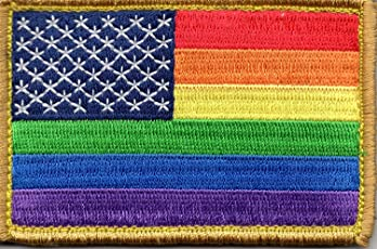 Rainbow US Flag Patch for LGBTQ Community and Supporters with Hook/Loop Backing