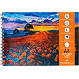 MENORAH - A4 Sketch Artist Book- Drawing Notebook- (50 Sheets)100 Pages- (21.0 cm x 29.7 cm)-140 GSM- (Poppy Field) Design