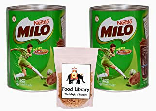 FOOD LIBRARY THE MAGIC OF NATURE Nestle Milo Active Go Tin, 400g - Pack of 2 with Food Library Golden Raisins, 100g
